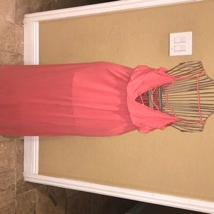 Peachy-Coral Maxi Dress W/Caged back